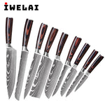IWELAI Stainless Steel Japanese Kitchen Chef Knives Set
