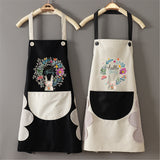 Kitchen Wipeable Waterproof Oil-Proof Cartoon Wreath Rabbit Kitchen Nail Shop Apron for Women