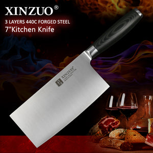 XINZUO 7'' Big Chinese Stainless Steel Cleaver Knife