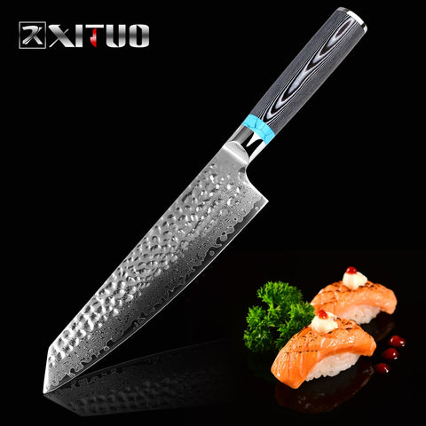"XITUO Japanese  8"" inch VG10 Blade Damascus Steel Knife"