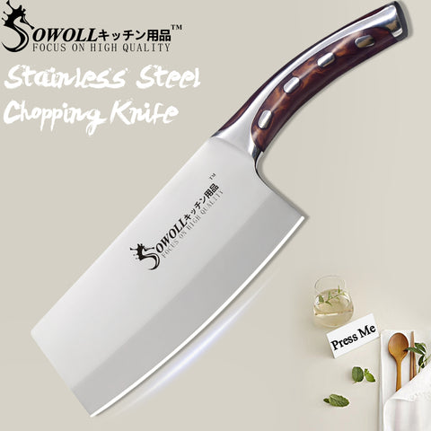 SOWOLL 4CR14 7 inch Stainless Steel Chef Cleaver Knife