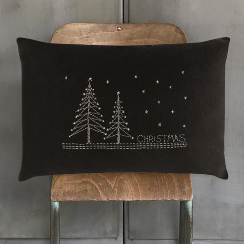 Black Wool Christmas Cushion