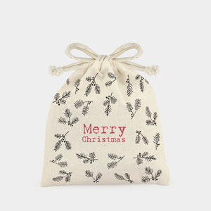 Small Merry Christmas Drawstring Bag