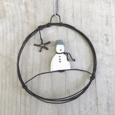 Small Wire Snowman Bauble