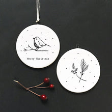 Christmas robin Porcelain Tree Decoration
