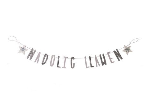 Silver and White Sparkly Nadolig llawen  Garland