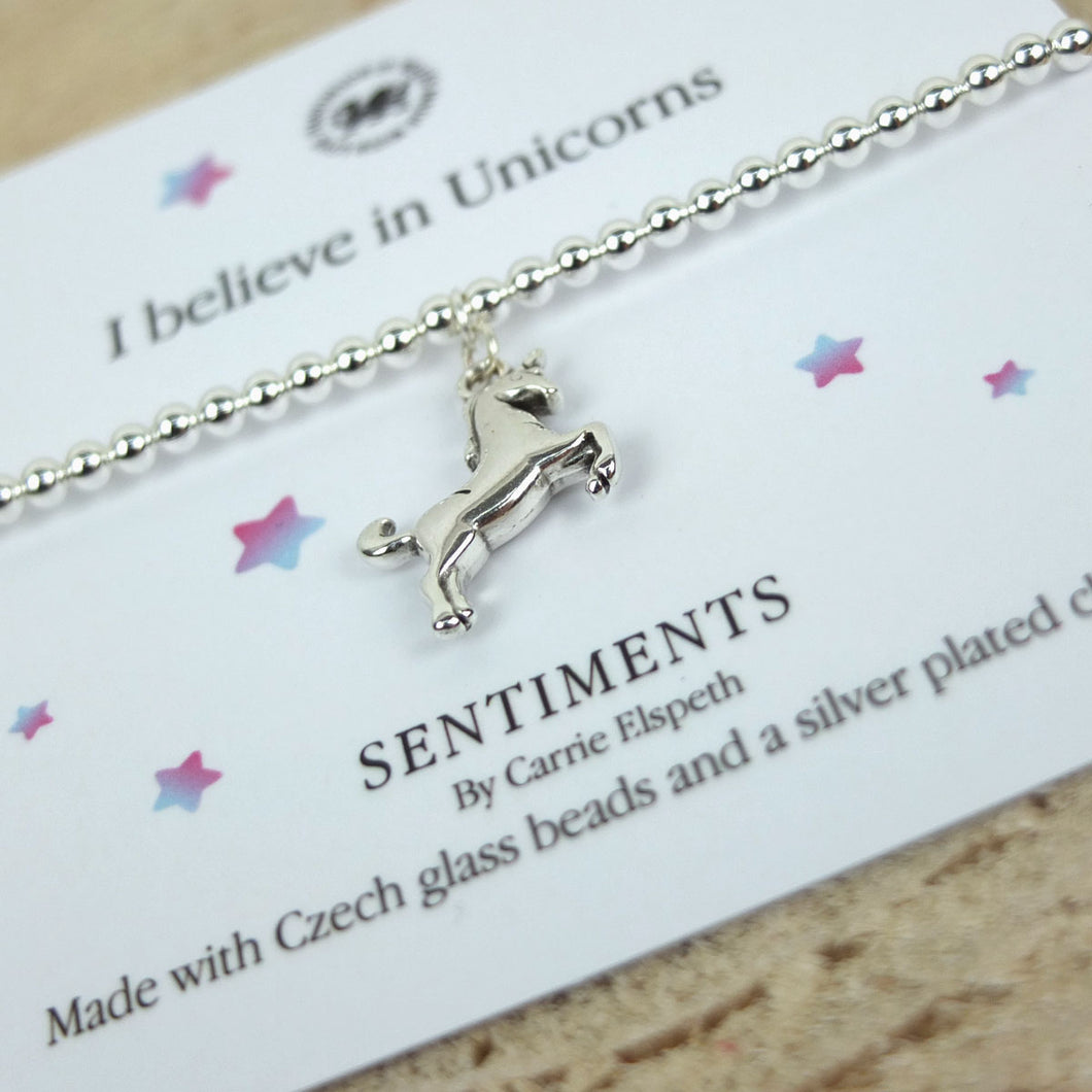 Carrie Elspeth 'I Believe in Unicorns' Sentiment Bracelet