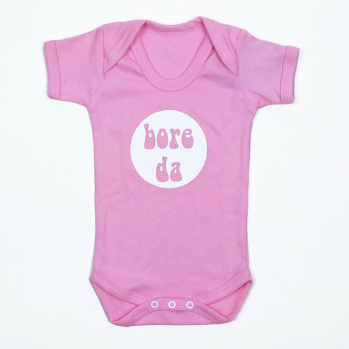 Bore Da Baby Vest in Pink and White