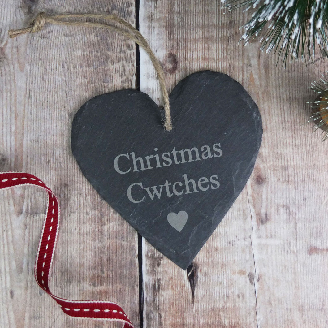 Christmas Cwtch Heart Slate Hanging Decoration