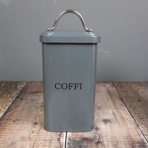 Grey Coffi Cannister