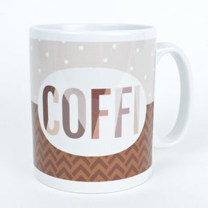 Welsh Coffi Mug in Brown