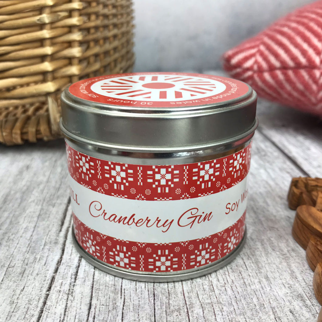Cranberry Gni Welsh Tin Candle
