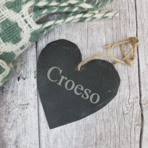 Croeso Slate Heart - Medium size, hand cut in Wales