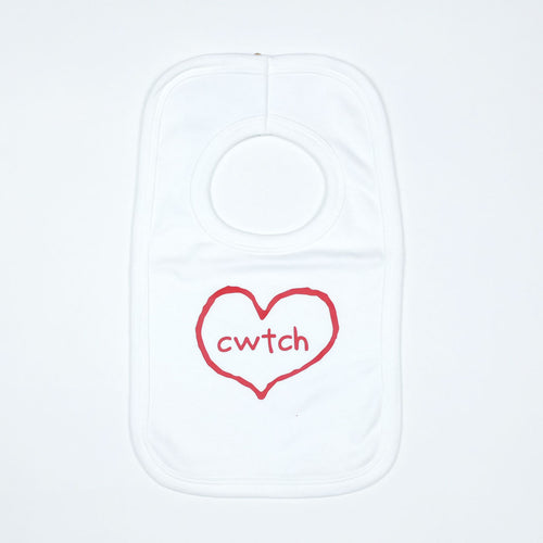 Cwtch in Heart  Baby Bib in White