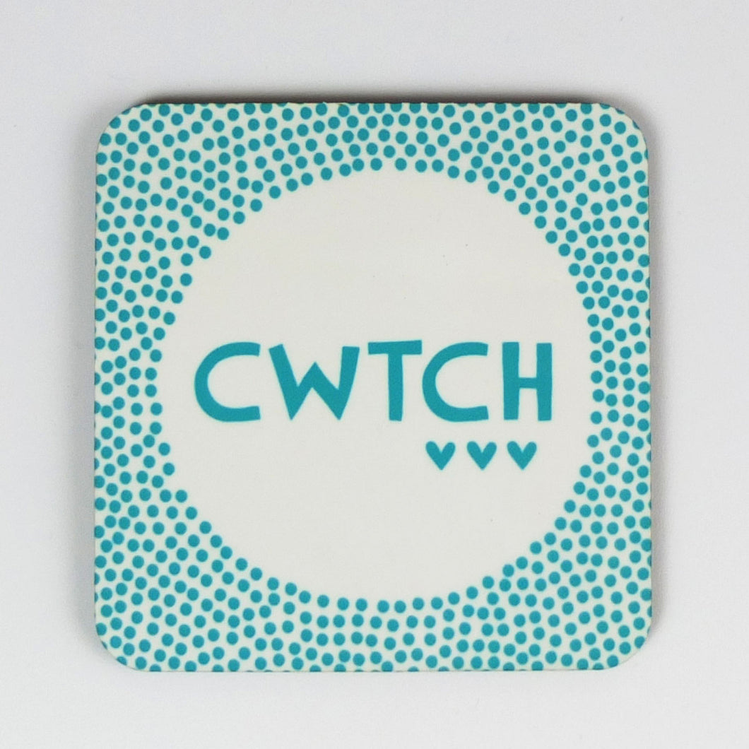 Turquoise Cwtch Dot Coaster