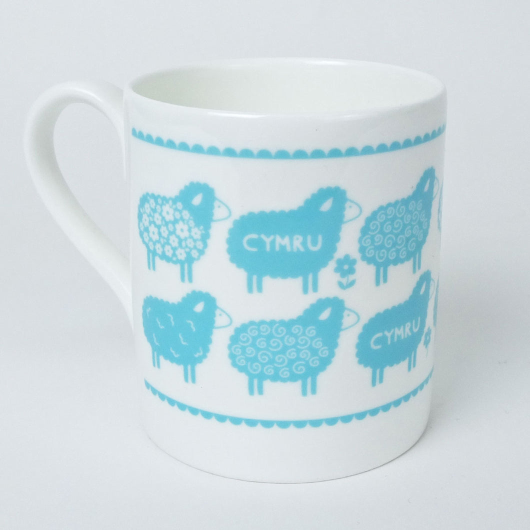 Cymru Sheep Illustration Mug in Blue