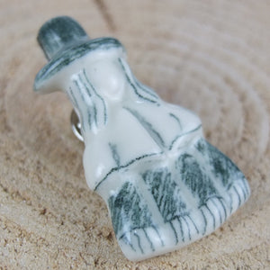 Porcelain welsh Lady Brooch