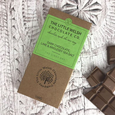 Dark Chocolate, Lime and Anglesey Sea Salt Bar