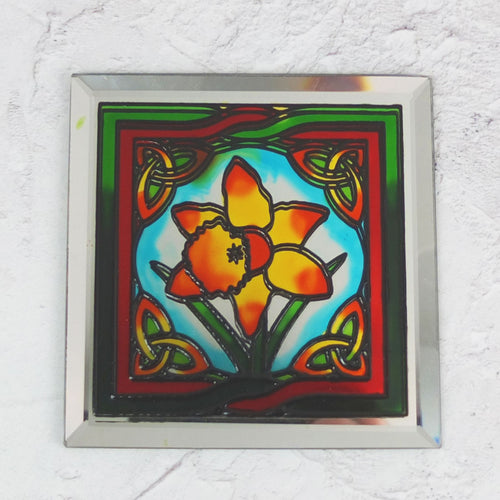 Stained Glass Mirrored Daffodil Coaster
