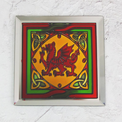 Stained Glass Welsh Dragon Mirrored Coaster