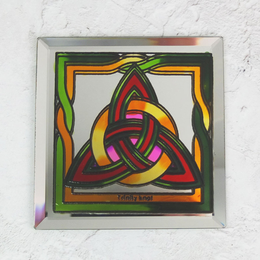 Stained Glass Celtic Trinity Knot Mirror Coaster