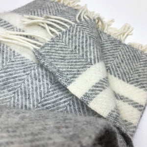 Grey and Off White Two Stripe Throw by Tweedmill