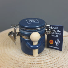 Blue Ceramic Jar of Pure White Sea Salt by Halen Mon