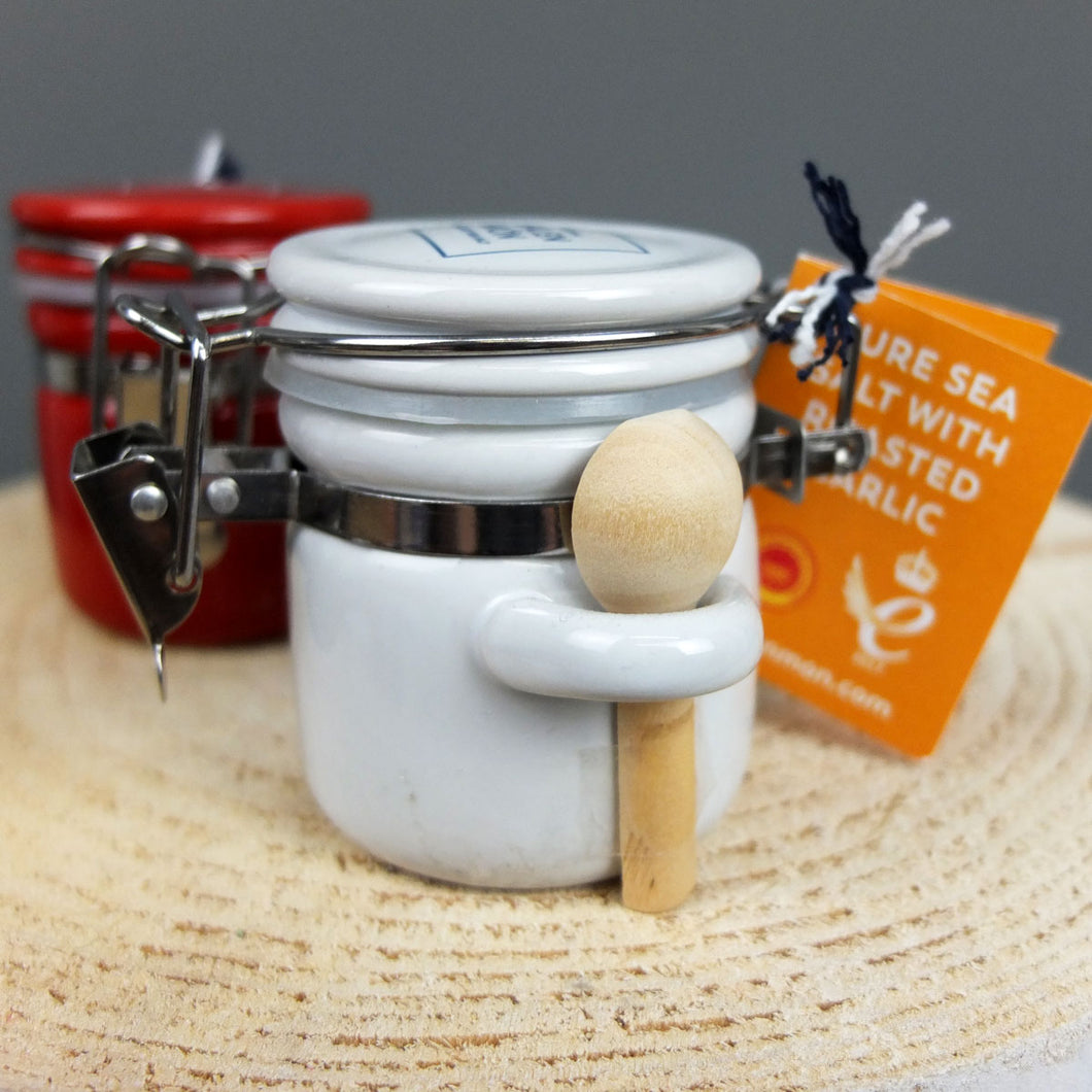White Ceramic Jar with Roasted Garlic Sea Salt by Halen Mon