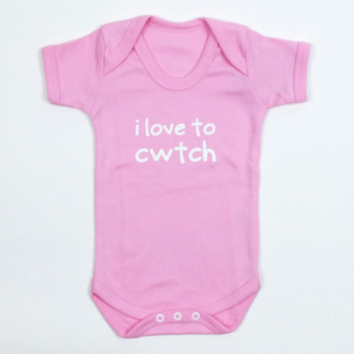 I Love to Cwtch Baby Vest in Pale Pink