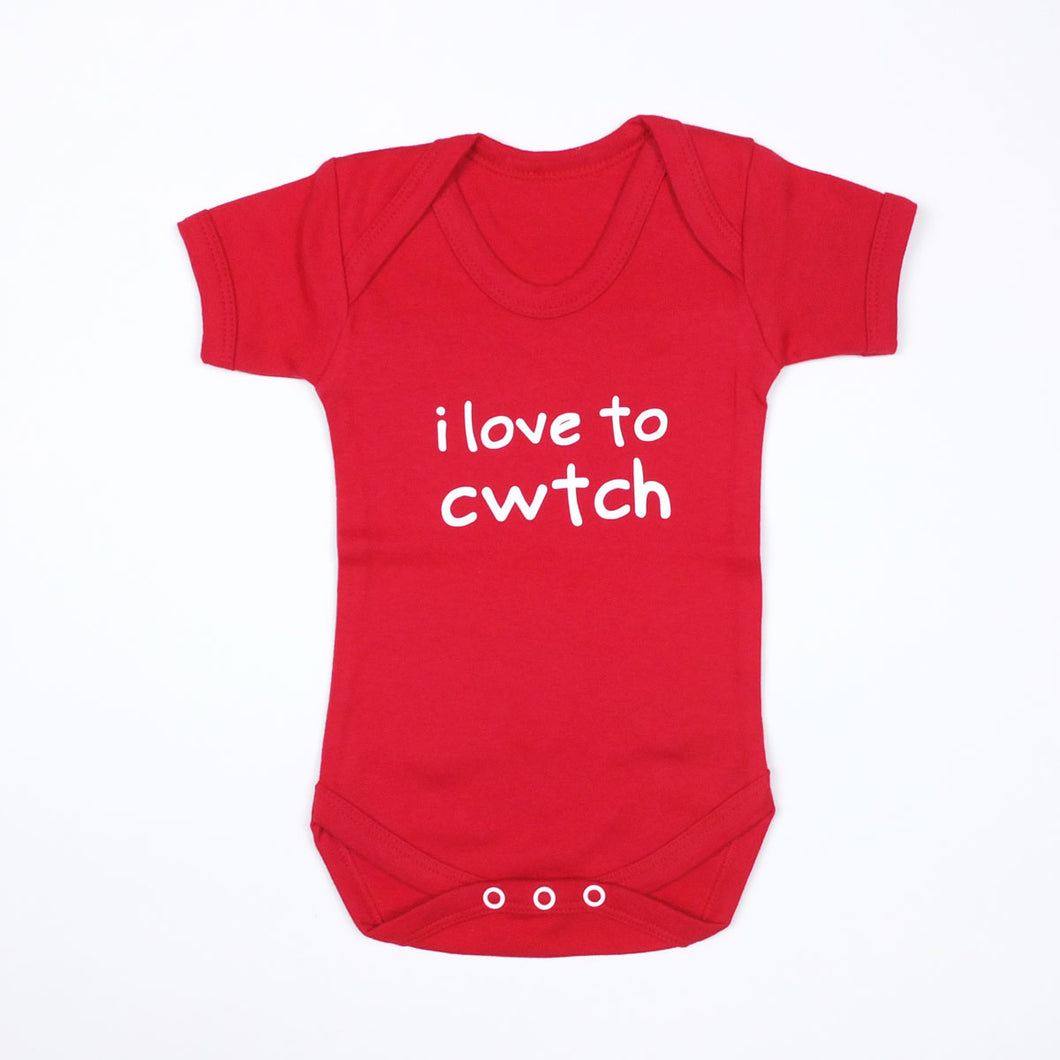 I Love to Cwtch Baby Vest in Red
