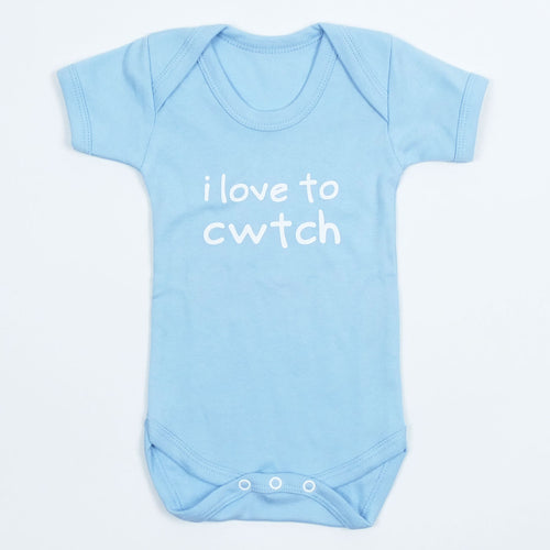 I Love to Cwtch Baby Vest in Pale Blue