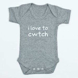 I Love to Cwtch Baby Vest in Grey