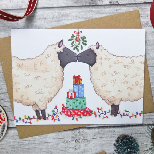 Kissing Sheep Christmas Card