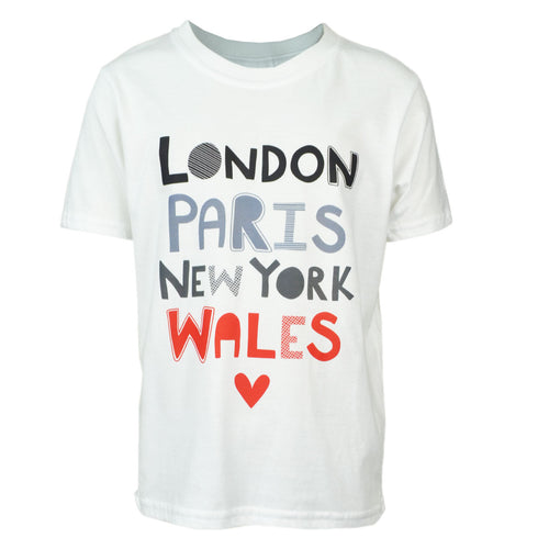 London, New York, Paris, Wales T Shirt for Kids
