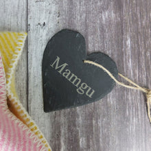 Medium Mamgu Slate Heart Hanger