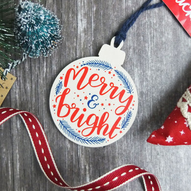 Merry and Bright Wooden Bauble Christmas Decoration