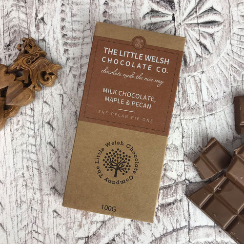 Milk Chocolate, Maple and Pecan Bar by The Little Welsh Chocolate Company