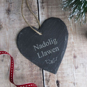 Nadolig Llawen Slate Christmas Decoration