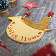 Christmas Nadolig Llawen Robin Ceramic Decoration