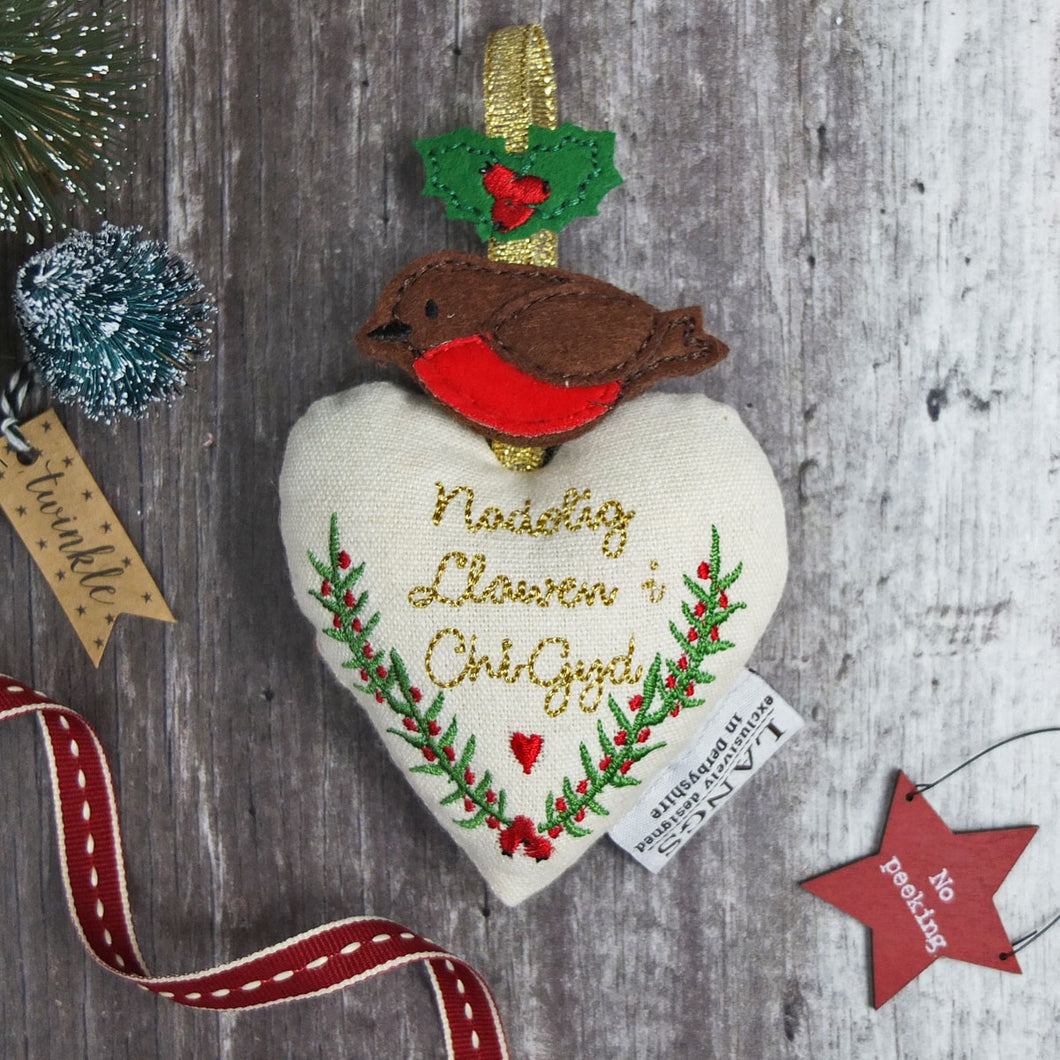 Robin, Holly and Heart Christmas Decoration