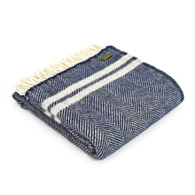 Navy and Grey Two Stripe Throw by Tweedmill