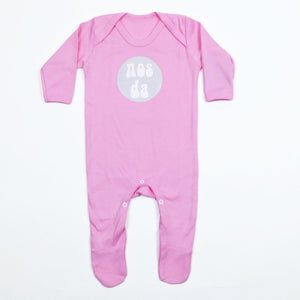Nos Da Baby Sleepsuit Pink and White
