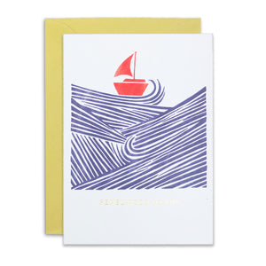 Embossed Penblwydd Hapus Boat and Waves Card
