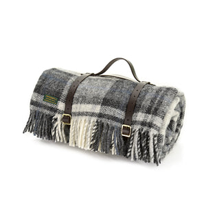 Tweedmill Grey/Black Picnic Rug With Leather Straps