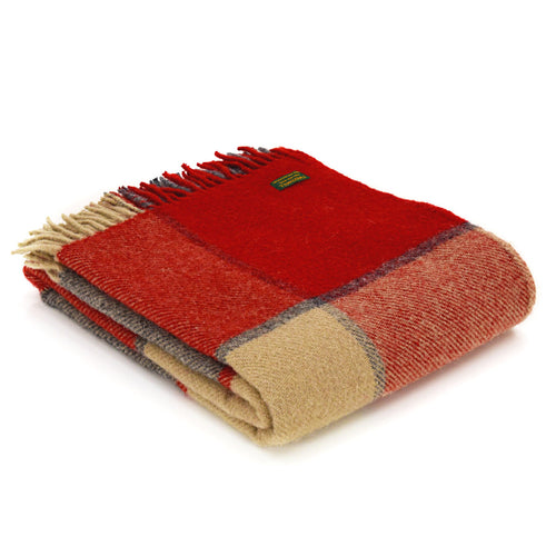 Tweedmill Red and Slate Check Throw