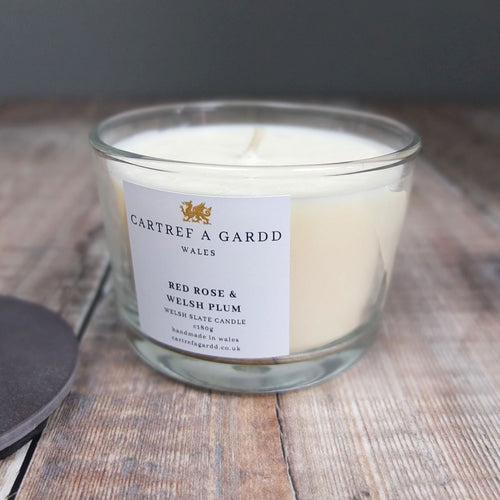 Red Rose and Welsh Plum Small Candle by Cartref a Gardd
