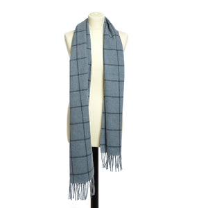 Blue Large Check Scarf by Tweedmill
