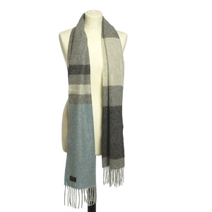 Blue Panel/Stripe Scarf by Tweedmill