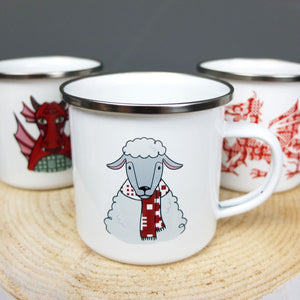 Enamel Sheep With Scarf Mug