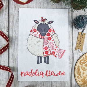 Sheep in Scarf Welsh Christmas Card